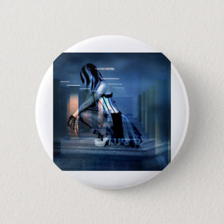 AWAITING THE DEATH OF CORPORATE GREED PINBACK BUTTON
