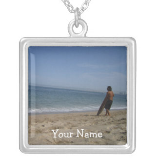 Awaiting the Next Wave; Customizable Square Pendant Necklace
