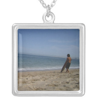 Awaiting the Next Wave Square Pendant Necklace