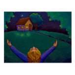 Awake in the moment happiness fun whimsical art postcard