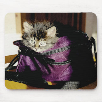 Awake Kitten In A Burgundy Purse Mouse Pad