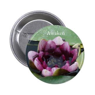 Awaken Lotus Flower Photo Round Badge Pinback Button