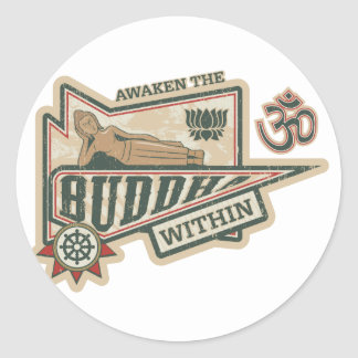 Awaken the Buddha Within Classic Round Sticker