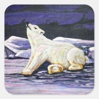 Awakening Polar Bear Square Sticker