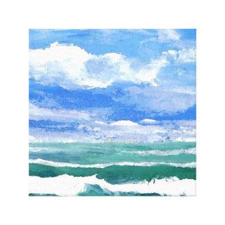Awakening Seascape Sunset Sea Beach Ocean Painting Canvas Print