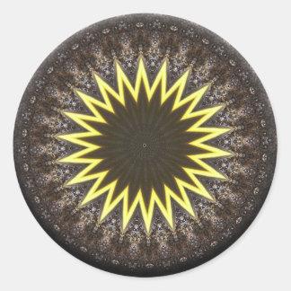 Awakening Sun Mandala Classic Round Sticker