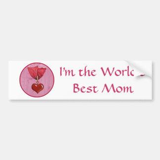 Award ~ Best Mom Red Ribbon & Heart Bumper Sticker