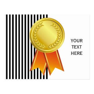 AWARD RIBBON gold I + your backgr. & text Postcard