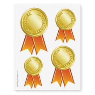 AWARD RIBBON gold I + your backgr. & text Temporary Tattoos