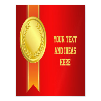 AWARD RIBBON gold II + your backgr. & text Magnetic Card