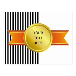 AWARD RIBBON gold III + your backgr. & text Postcard