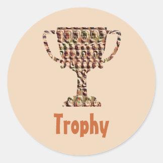 AWARD : Vintage Engraved Gold Classic Round Sticker