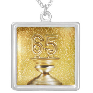 Award with Fireworks Square Pendant Necklace