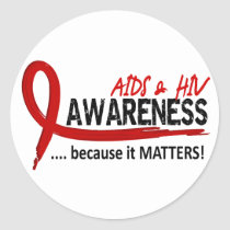 Awareness 2 AIDS Classic Round Sticker