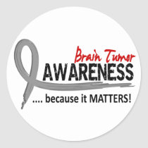 Awareness 2 Brain Tumor Classic Round Sticker