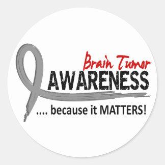 Awareness 2 Brain Tumor Classic Round Sticker