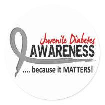 Awareness 2 Juvenile Diabetes Classic Round Sticker