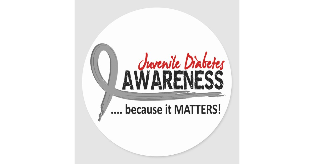 Awareness 2 juvenile diabetes classic round sticker zazzle for Stickers juveniles