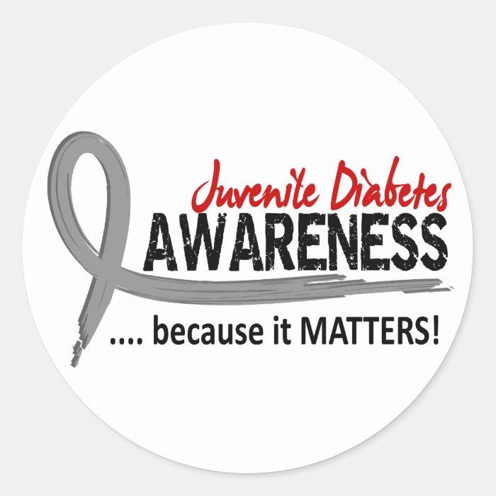 Awareness 2 juvenile diabetes classic round sticker zazzle for Stickers juveniles