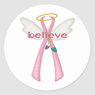 Awareness Angel Ribbons - Pink Believe Classic Round Sticker