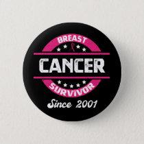 Awareness Breast Cancer Survivor Since 2001 Button