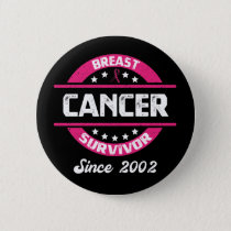 Awareness Breast Cancer Survivor Since 2002 Button
