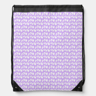 Awareness Butterflies on Lilac Purple Drawstring Backpack