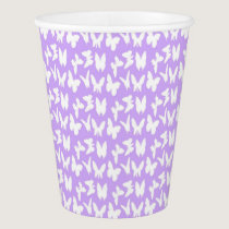 Awareness Butterflies on Lilac Purple Paper Cup
