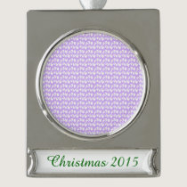 Awareness Butterflies on Lilac Purple Silver Plated Banner Ornament