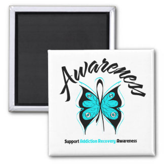 AWARENESS Butterfly Addiction Recovery 2 Inch Square Magnet