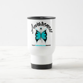 AWARENESS Butterfly Addiction Recovery 15 Oz Stainless Steel Travel Mug