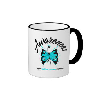 AWARENESS Butterfly Addiction Recovery Ringer Coffee Mug