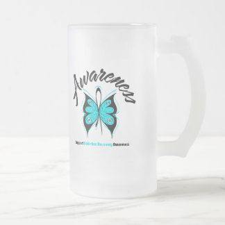 AWARENESS Butterfly Addiction Recovery 16 Oz Frosted Glass Beer Mug