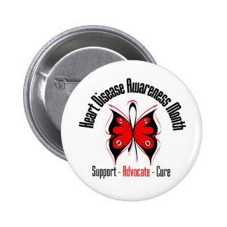Awareness Butterfly - Heart Disease Month 2 Inch Round Button