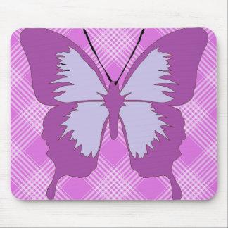 Awareness Butterfly on Purple Tartan Mousepads