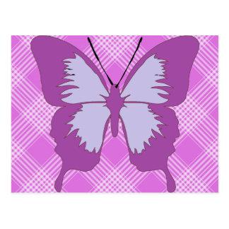 Awareness Butterfly on Purple Tartan Postcard
