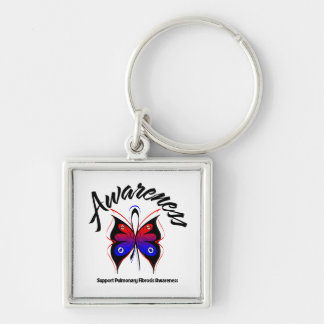 AWARENESS Butterfly Pulmonary Fibrosis Silver-Colored Square Keychain