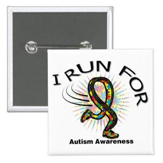 Awareness I Run For Autism Button