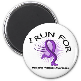 Awareness I Run For Domestic Violence 2 Inch Round Magnet