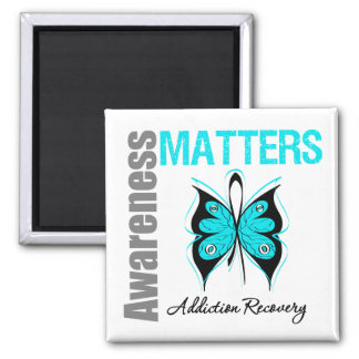 Awareness Matters Butterfly Addiction Recovery 2 Inch Square Magnet