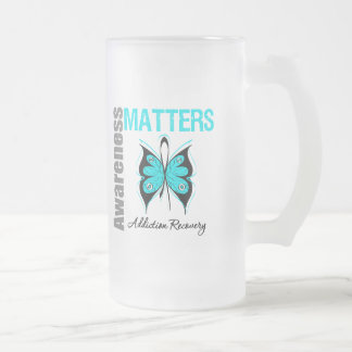 Awareness Matters Butterfly Addiction Recovery 16 Oz Frosted Glass Beer Mug