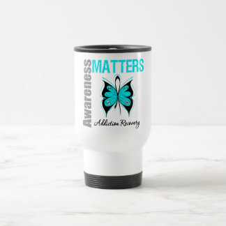 Awareness Matters Butterfly Addiction Recovery 15 Oz Stainless Steel Travel Mug