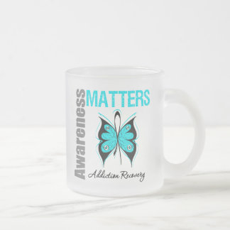 Awareness Matters Butterfly Addiction Recovery 10 Oz Frosted Glass Coffee Mug