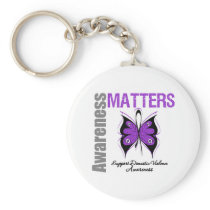 Awareness Matters Domestic Violence Basic Round Button Keychain