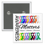 Awareness Matters Ribbons Of Cancer 2 Inch Square Button
