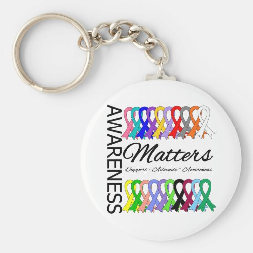 Awareness Matters Ribbons Of Cancer Key Chain