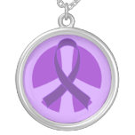 Awareness Purple Ribbon Peace Sign Jewelry Gift