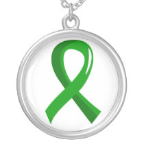 Awareness Ribbon 3 Gastroparesis Silver Plated Necklace