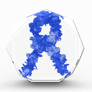 Awareness Ribbon In Blue Flowers Awards