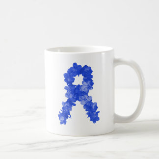 Awareness Ribbon In Blue Flowers Coffee Mug